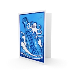 Sea Salt Learning - Thank you card | 2-colour lino print (on 2 plates) | 100 x 150mm on A5