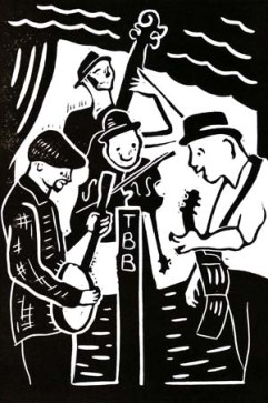 Thunderbridge Bluegrass Boys | Lino print | 100 x 150mm