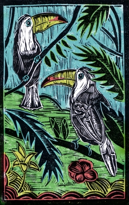 Toucans - Animal Alphabet | Lino print with digital colour | 200 x 250mm