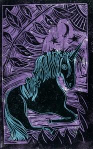 Unicorn - Animal Alphabet | Lino print with digital colour | 200 x 250mm
