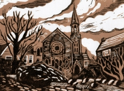 URC Malmesbury | 2-colour reduction lino print | 200 x 150mm