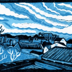 View from the loo | 3-colour reduction lino print | 200 x 150mm