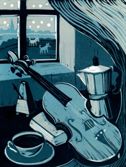 Violino | 4-colour reduction lino print | 150 x 200mm