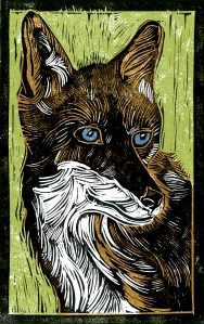 Vixen - Animal Alphabet | Lino print with digital colour | 200 x 250mm