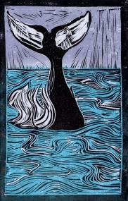 Whale - Animal Alphabet | Lino print with digital colour | 200 x 250mm