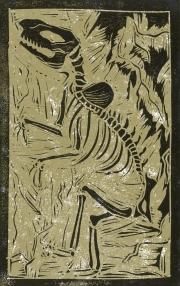 X-tinct dinosaur - Animal Alphabet | Lino print with digital colour | 200 x 250mm