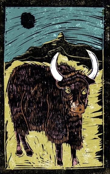 Yak - Animal Alphabet | Lino print with digital colour | 200 x 250mm