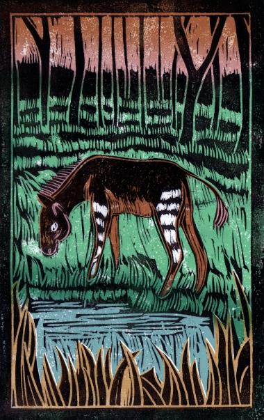 Zonkey - Animal Alphabet | Lino print with digital colour | 200 x 250mm
