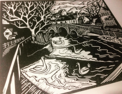 Town Bridge | Lino print | 300 x 250mm