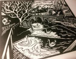 Town Bridge | Lino print | 300 x 250mm