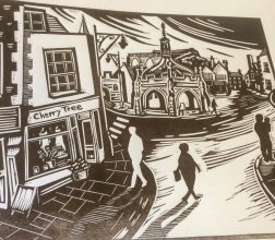 Top of the High Street | Lino print | 300 x 250mm